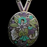 Margot de Taxco Enameled Flowers Sterling Brooch/Necklace