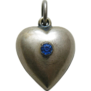 "Vintage Sapphire Paste Extra Puffy ""Edith '41""  Sterling Heart Charm"