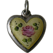 "Vintage La Mode Enameled Sterling Heart Charm ""Gladys"""