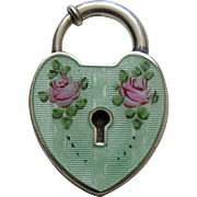 Vintage Large Green Enameled Sterling Heart Lock