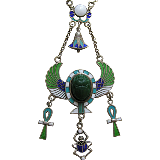 Egyptian Revival Enameled Scarab Lotus Ankh 800 Silver Necklace