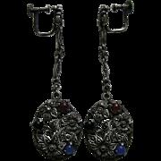 Art Deco Carnelian Chalcedony Onyx Marcasite German Sterling Earrings