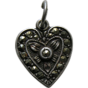 Vintage Marcasite Sterling Heart Charm