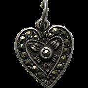 Vintage Marcasite Sterling Heart Charm