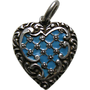 Antique Blue Enameled Lace Pattern Sterling Heart Charm
