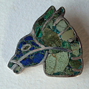 Vintage 1940s Taxco Sterling and Mosaic Inlay Equine Head Brooch