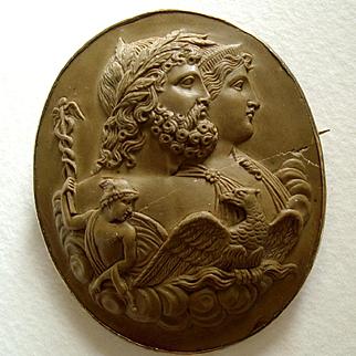 Rare Antique Victorian Zeus and Hera Lava Cameo
