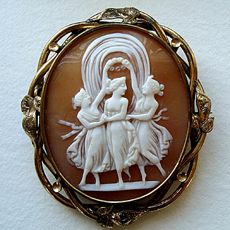 Antique Victorian Three Graces Shell Cameo Brooch