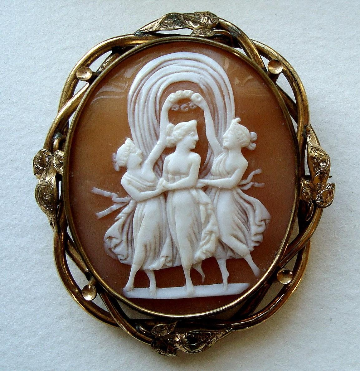 Antique Victorian Three Graces Shell Cameo Brooch from