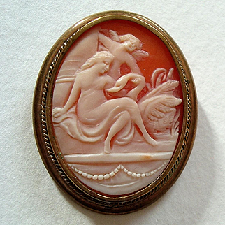 Early 1900s Leda and Swan with Cupid Carved Shell Cameo Brooch