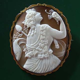 HUGE Victorian Shell Cameo Brooch Dionysus / Bacchus, God of Wine