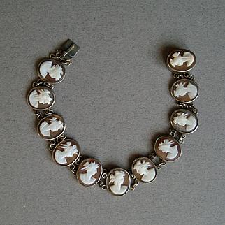 Pretty Antique Carved Shell Cameo Classical Goddess Bracelet