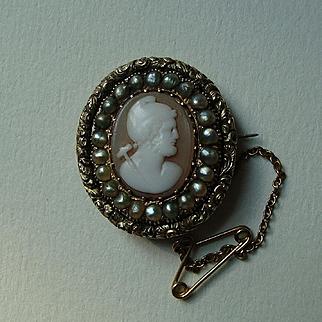 Rare Antique Georgian Shell Cameo Brooch Hephaestus Vulcan with seed pearls