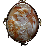 Antique Victorian Shell Cameo 9K Gold Brooch of Athena with Owl on Shield