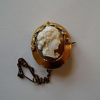 Pretty Antique Shell Cameo Bacchante Brooch - High Relief Carving