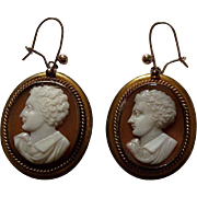 Antique Victorian Shell Cameo Earrings with Lord Byron Portraits