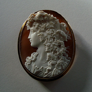 Glorious Huge Antique Shell Cameo Bacchante 9K Gold Brooch