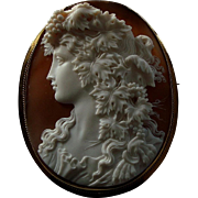 Huge Antique Victorian Carved Shell Cameo Bacchante 9K Gold Brooch