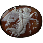 Huge Fine Victorian Shell Cameo Brooch of Day after Thorvaldsen