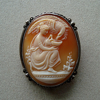 Adorable Vintage Shell Cameo Brooch/ Pendant of Hebe and Eagle in 800 Silver with Marcasites