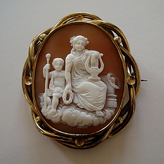 Large Victorian Carved Shell Cameo Mourning Brooch - Muse and Child