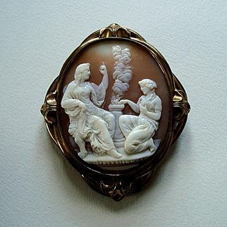 Antique Victorian Carved Shell Cameo Brooch - Classical Goddess Altar Scene