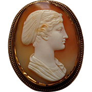 Rare Antique Victorian Carved Shell Cameo of Sappho 18k Gold Brooch