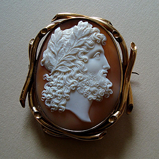 Splendid Antique Victorian Carved Shell Cameo of Zeus 9K Gold Brooch c 1850 Signed