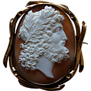 Splendid Antique Victorian Zeus Carved Shell Cameo 9K Gold Brooch c 1850