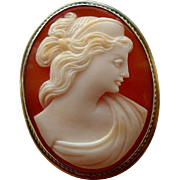 Vintage Carved Shell Cameo Classical Goddess 800 Silver Brooch or Pendant