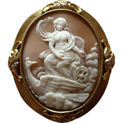Large Antique Victorian Carved Shell Cameo Brooch - Hera with Peacock