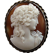Antique Victorian Carved Shell Cameo Brooch of Antinous