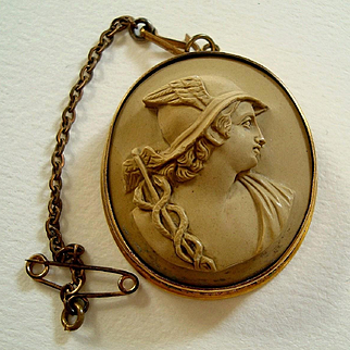 Antique Victorian Lava Cameo of Hermes / Mercury