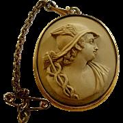Antique Victorian Lava Cameo of Hermes / Mercury