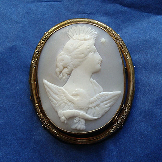 Large Antique Victorian Carved Shell Cameo Brooch - Goddess of Day with Eagle