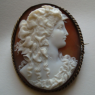 Large Fine Antique Victorian Carved Shell Cameo Brooch, Flora, Goddess of Spring