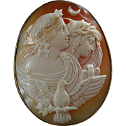 Large Victorian Carved Shell Cameo Brooch of Day and Night