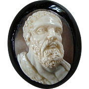 Rare Antique Victorian Carved Shell Cameo Brooch  – Frontal Hercules Portrait in Whitby Jet
