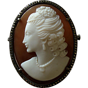 Fine early 1900s Carved Shell Cameo Portrait of Lady Brooch / Pendant in Silver and Marcasites