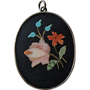 Early 1900s Pietra Dura Floral Pendant in Silver