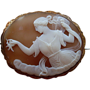 Huge Fine Victorian Carved Shell Cameo Brooch of Psyche with Butterfly