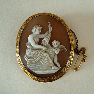 Antique Victorian Venus and Cupid with Cornucopia 9k Gold Carved Shell Cameo Brooch
