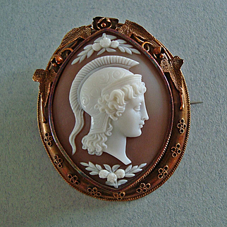 Antique Victorian Carved Shell Cameo of Athena / Minerva