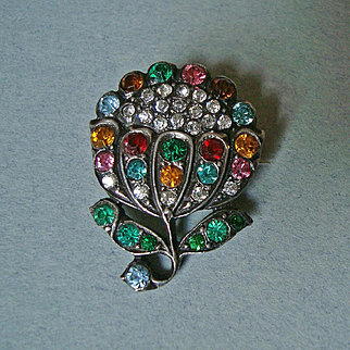 Antique French Art Nouveau Silver and Multi-Coloured Paste Flower Brooch c1900