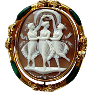 Spectacular Victorian Carved Shell Three Graces Cameo Pinchbeck Malachite Pebble Brooch