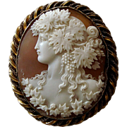 Large Victorian Finely Carved Shell Cameo Brooch - Bacchante wearing Grape Vine and Ivy