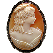 Vintage Carved Shell Cameo Silver and Marcasite Brooch or Pendant - Lady with Ringlets