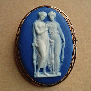 Victorian Wedgwood Cobalt Blue Jasper Ware Cameo 9k Gold Brooch of Two Standing Graces from Classical Mythology