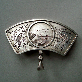 Antique Victorian Silver Aesthetic Movement Japanese Style Fan Brooch, Birds and Sea View c1880
