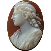 Fine Antique Victorian Hardstone Cameo of Annunciation Angel Gabriel